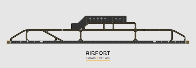Top view of airport runway and taxi way with airplane Premium Vector