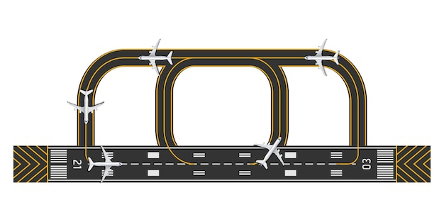 Top view of airport runway with airplane Premium Vector