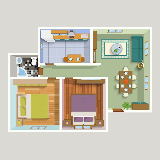 Top view apartment interior detailed plan Free Vector