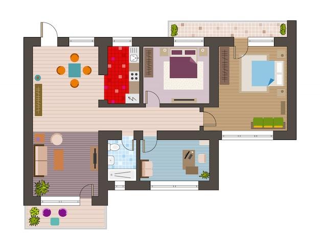 Top view of architecture plan Premium Vector