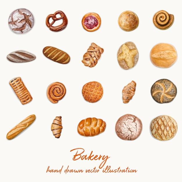 Top view bakery illustration Premium Vector