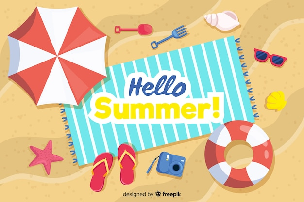 Top view beach summer background Free Vector