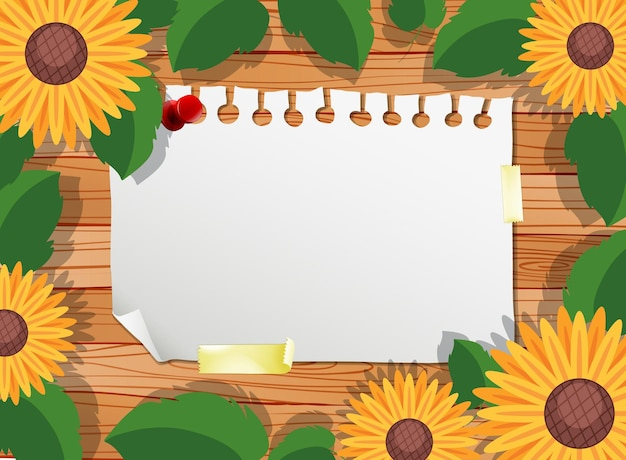 Top view of blank paper on table with leaves and sunflower elements Free Vector