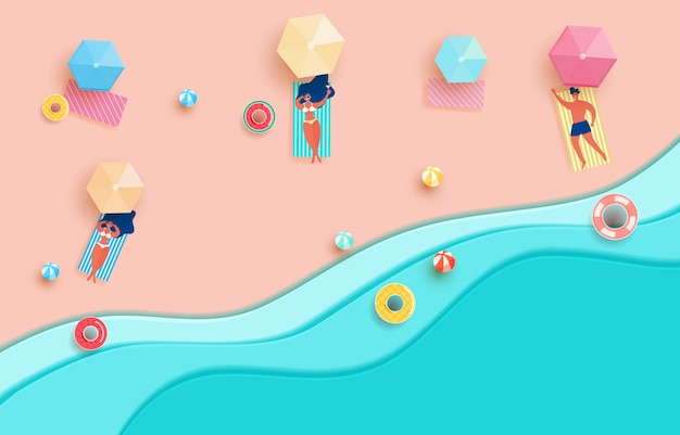 Top view blue sea paper waves and beach Premium Vector