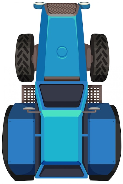 Top view of blue tractor Free Vector