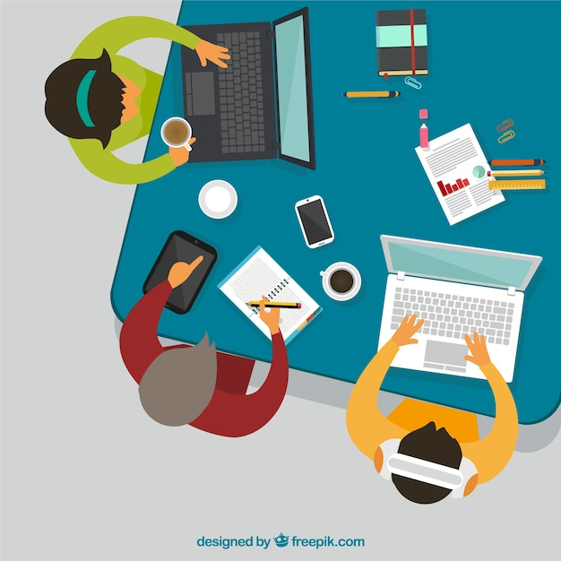 Top view of business meeting Free Vector