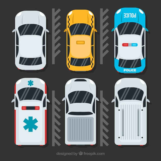 Cars Collection In Top View: Top View Car Collection With Ambulance And Police