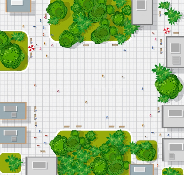 Top view of the city. background town map Premium Vector
