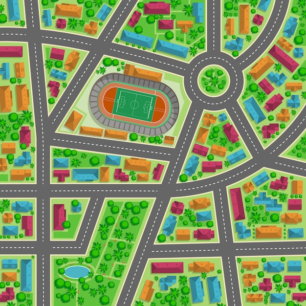 Top view of the city flat illustration for any design Premium Vector