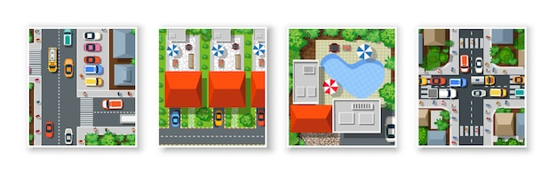 Top view of the city from the streets, roads Premium Vector