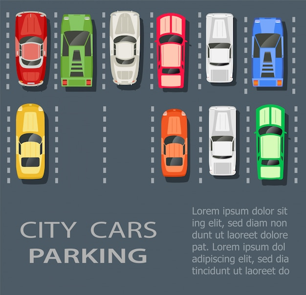 Top view of a city parking lot with a set of different cars Premium Vector