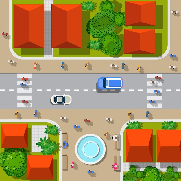 Top view of the city. urban crossroads with cars and houses, pedestrians. Premium Vector