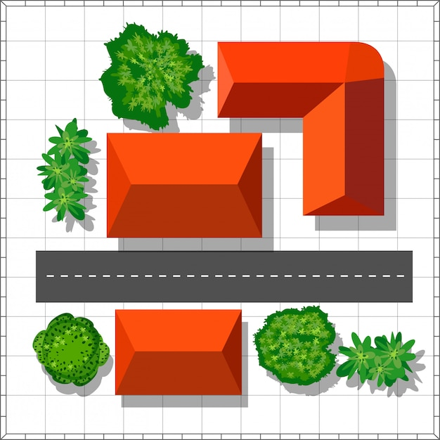 Top view of the city  urban street with houses and trees Vector