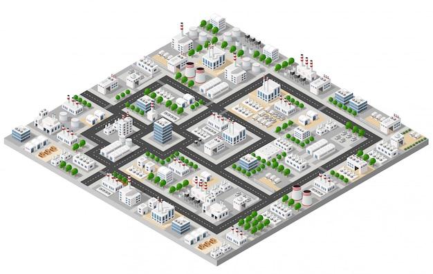 Top view of the city Premium Vector