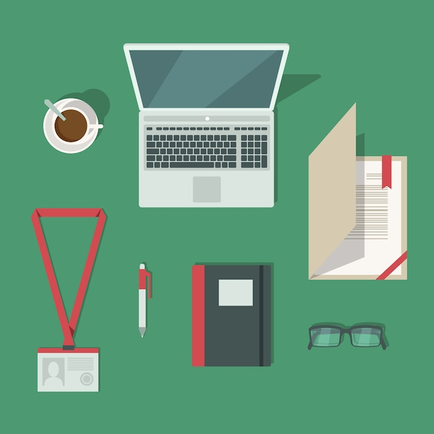 Top view on classic office workplace desk Free Vector