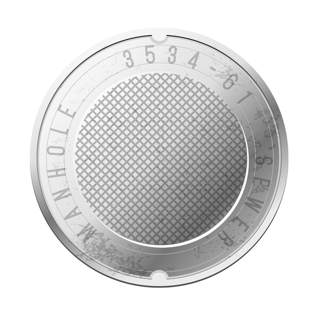 Top view of the closed sewer manhole Premium Vector