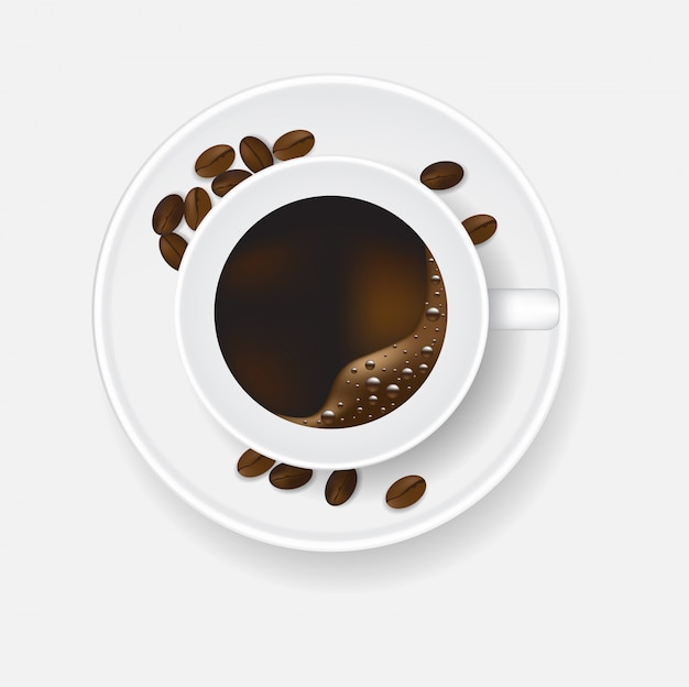 Top view coffee cup and beans. Premium Vector