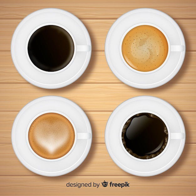 Top view of coffee cup collection with realistic design Free Vector