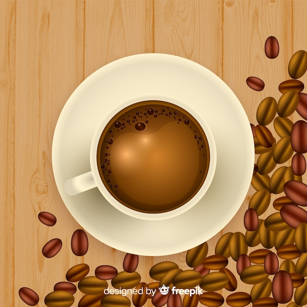 Top view of coffee cup with realistic design Free Vector