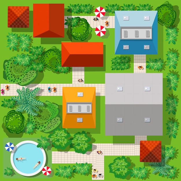 Top view of the colorful Premium Vector