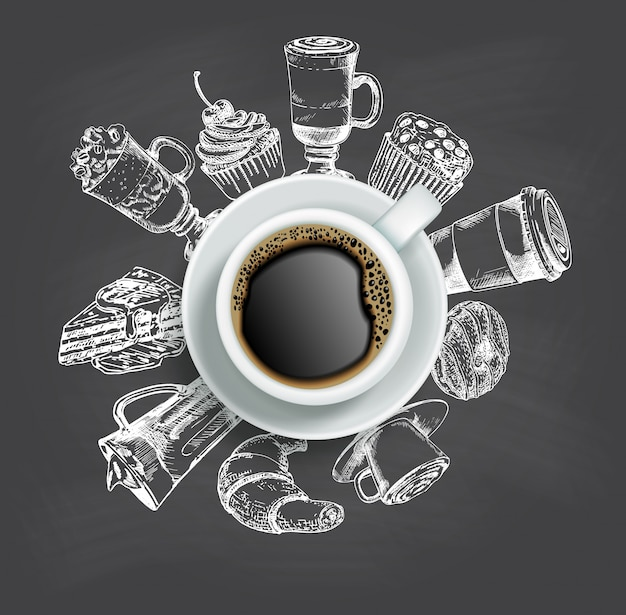 Top view cup of coffee with sketch sweets around it Premium Vector