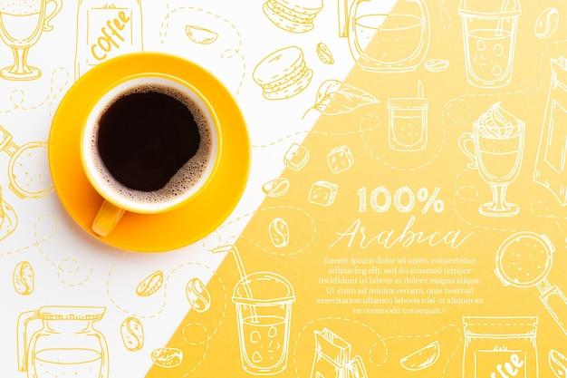 신선한 블랙 커피의 상위 뷰 컵 무료 벡터