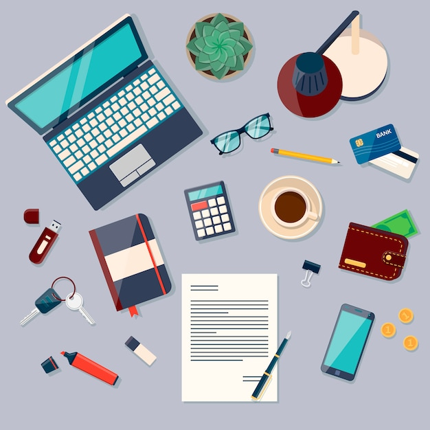 Top view of desk background with laptop, digital devices, office objects, books and documents Premium Vector