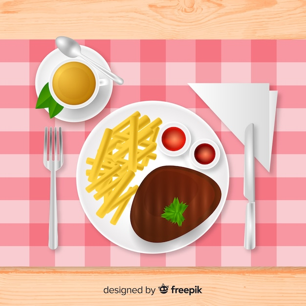 Top view of elegant restaurant table with realistic design Free Vector