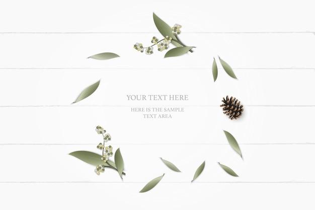 Top view elegant white composition paper botanic garden plant leaf flower pine cone on wooden background. Premium Vector