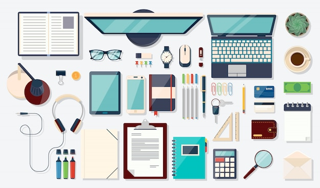 Top view elements. desk background with laptop, digital devices, office objects, books and documents Premium Vector