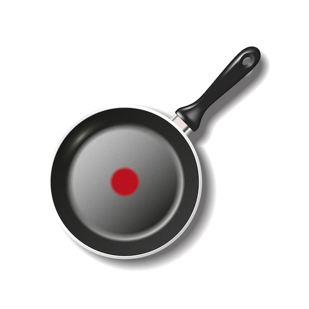 Top view of empty frying pan isolated on white with shadow