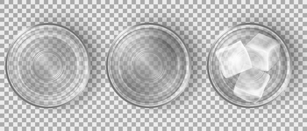 Top view of empty and full of water glasses Free Vector