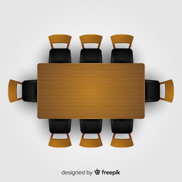 Top view of empty restaurant table with realistic design Free Vector