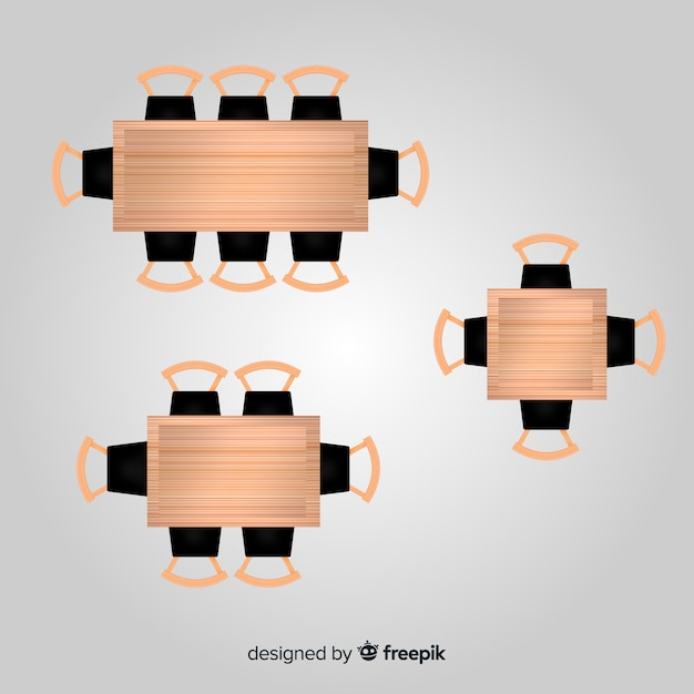 Top view of empty restaurant tables with realistic design Free Vector