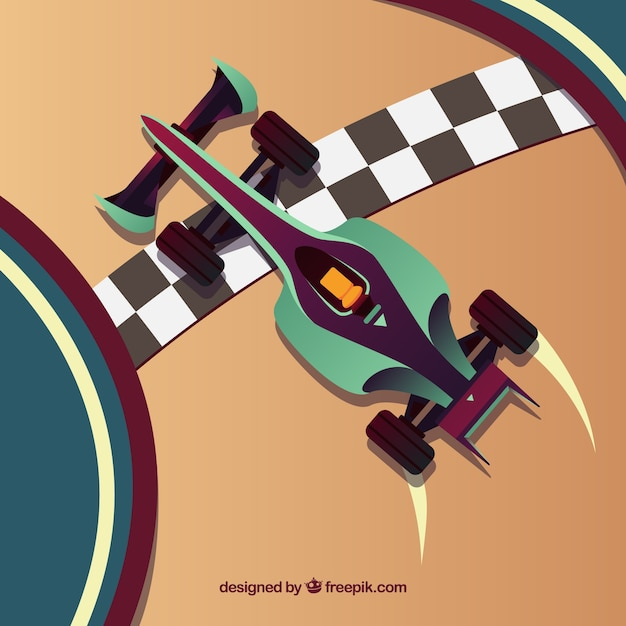 Top view of f1 racing car crosses finish line Free Vector