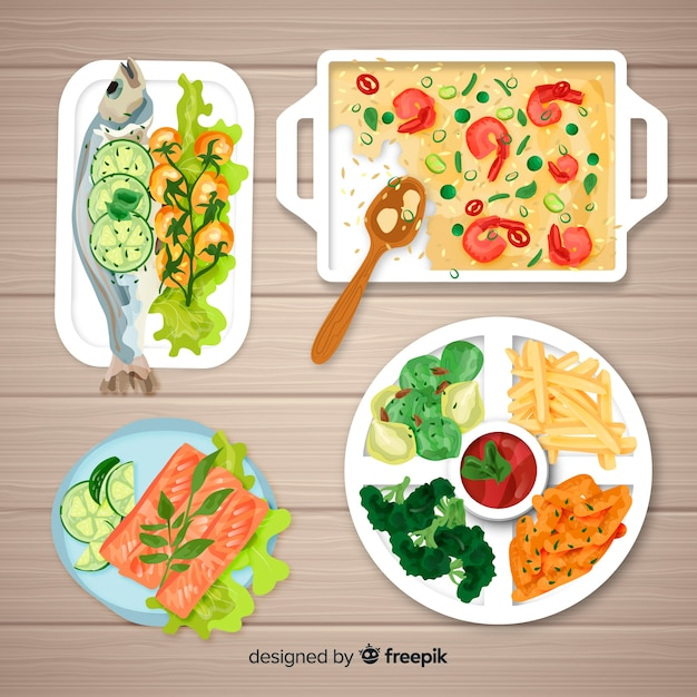Top view feast background Free Vector