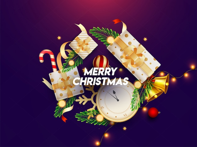 Top view of festival elements like as clock, gift boxes, jingle bell, baubles, pine leaves, candy cane and lighting garland decorated on purple  for merry christmas. Premium Vector