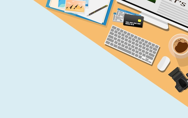 Top view flat design of working table desk with copy space