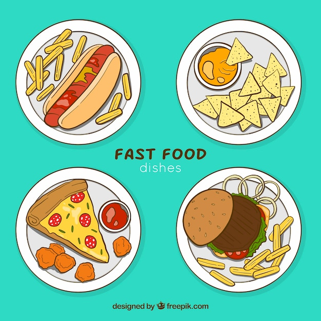 Top view food dish collection Free Vector