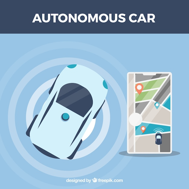 Top view of futuristic autonomous car with flat design Free Vector