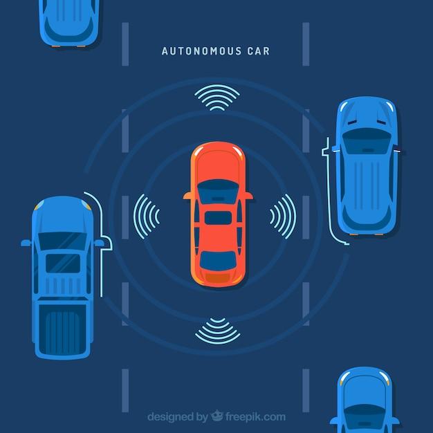Top view of futuristic autonomous car with flat design Free Vector