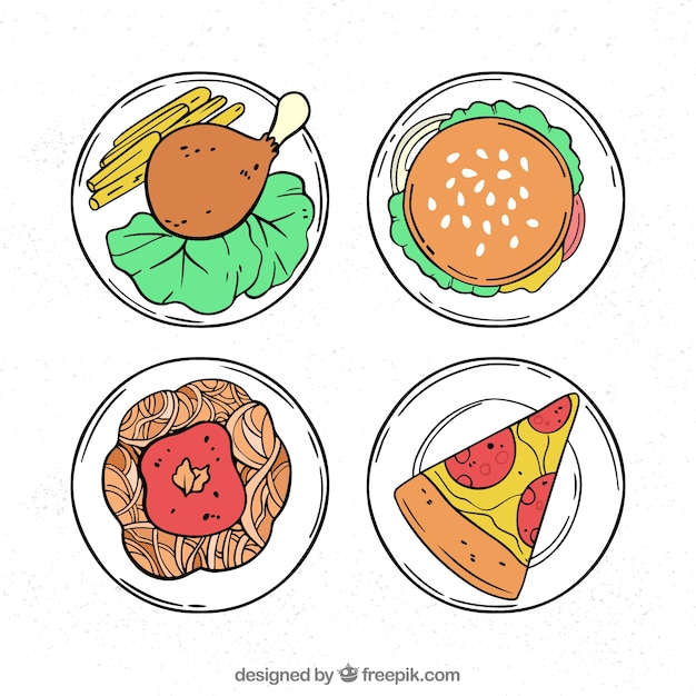 Top view of hand drawn food dishes Free Vector