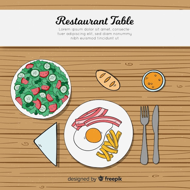 Top view of hand drawn modern restaurant table Free Vector
