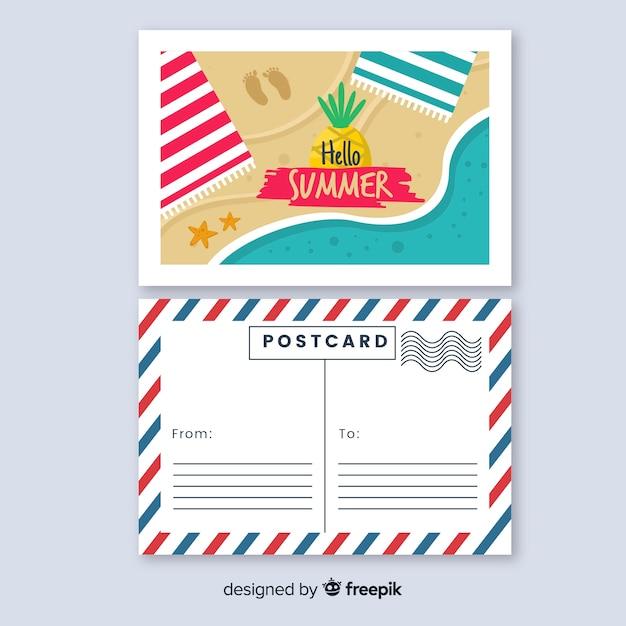 Top view hand drawn shore summer postcard Free Vector