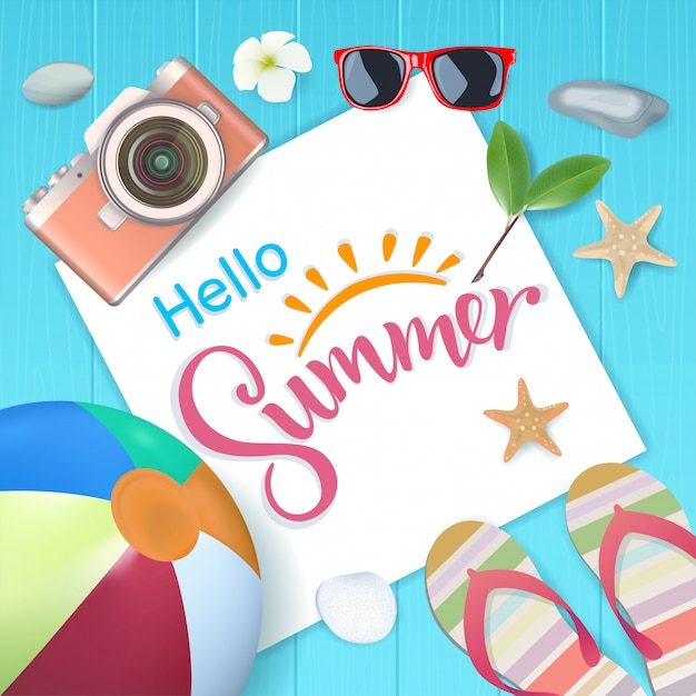 Top view, hello summer with copy space for text on blue wooden, vector illustration. Premium Vector