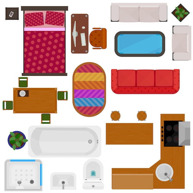 Top view of home furniture Free Vector