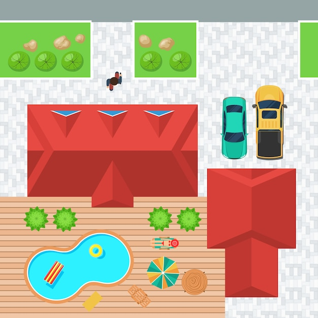 Top view house with pool Premium Vector