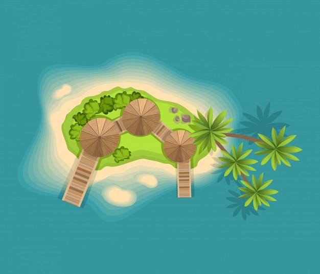 Вид сверху на остров. вид с высоты на тропический остров в океане. векторный мультфильм тропический рай морской остров берег. хороший солнечный день Premium векторы