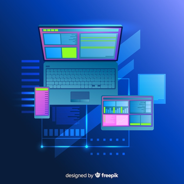Top view laptop technology background Free Vector