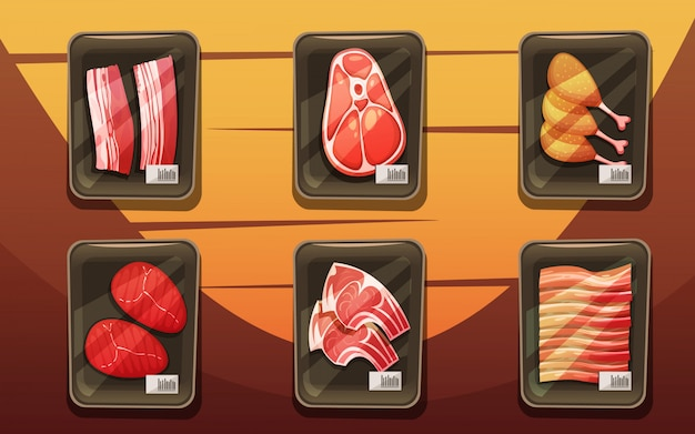 Top view of meat counter with trays of chicken legs Free Vector